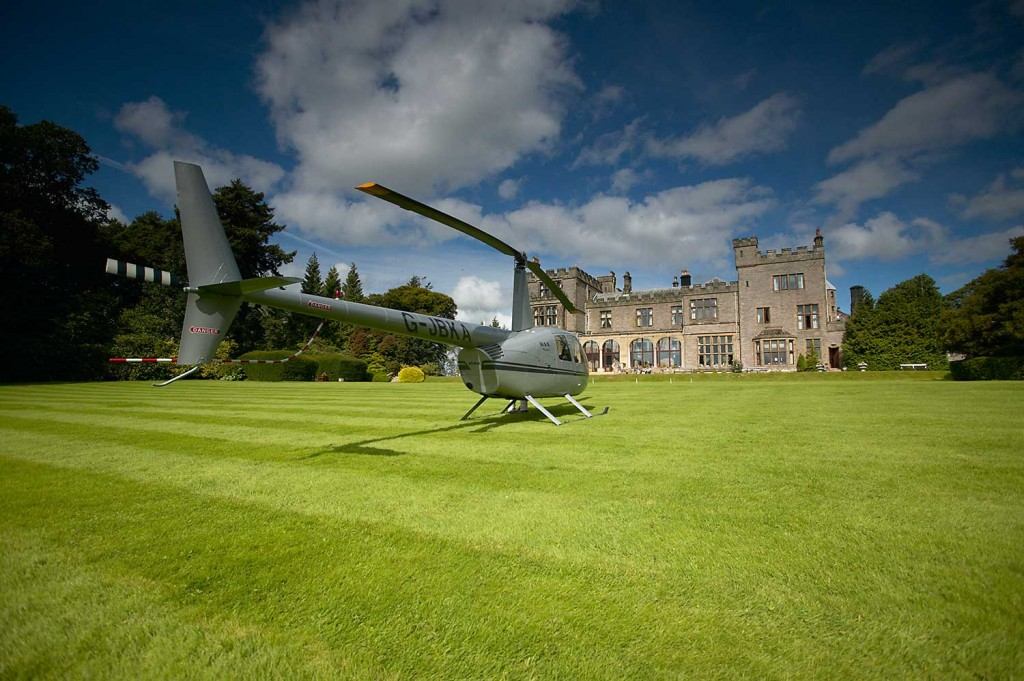Helicopter charter Durham Tees Valley - Waiting for guests on the lawn of Armathwaite Hall in the Lake District