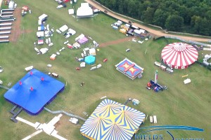 Leeds Festival setup from the air