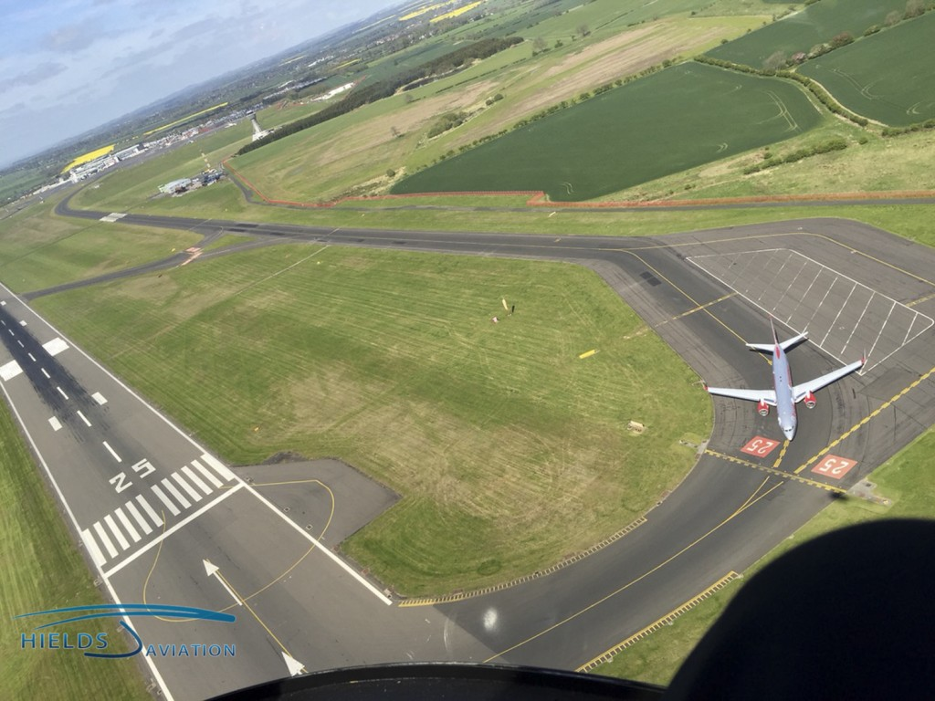 Flying amongst the big jets at Newcastle Airport